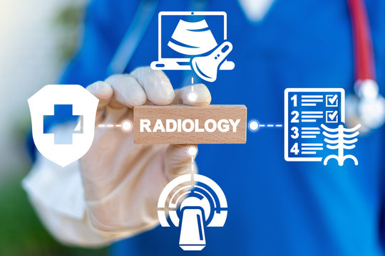 Radiology X-Ray MRI Tomography Ultrasound Human Body Scan Technologies. Diagnostician holding wood block with radiology word. Health Examining Scanning Machines.