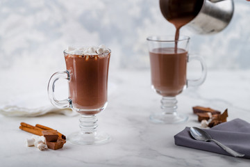 Wall Murals Chocolate hot chocolate with marshmallow in a clear glass.