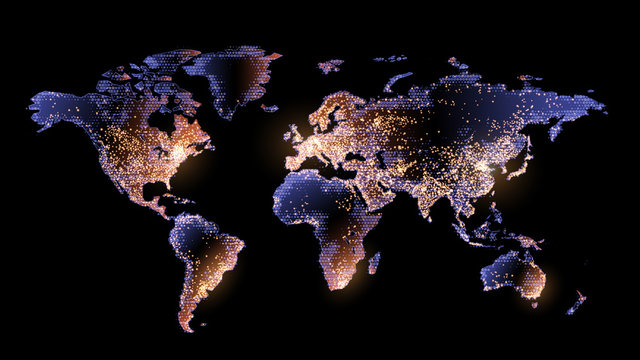 Vector. Map on a black background. Planet Earth from space. Flickering lights of cities and megacities. Global communications system and the World Wide Web. Technologies and communications. Future.