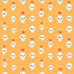 Hand drawn evil vampire skulls and shining crowns seamless repeat vector pattern. Cute cartoon doodle style funny sculls with sharp teeth, fangs. Happy Halloween or Day of the Dead fantasy background.