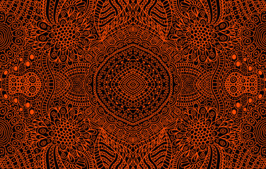 Psychedelic ornamental background. Red lines on the black backdrop. Tribal geometrical pattern. Vector art illustration
