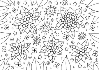 Doodle floral ornament. Outline abstract flowers and leaves. Cartoonish coloring page for adults. Vector illustration