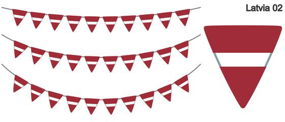 ラトビアの国旗のガーラーンド ベクターデータ(bunting garland)