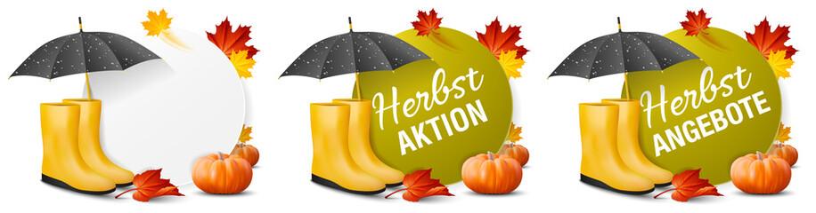 Herbst Aktion Angebote Banner Set mit Herbst Blätter, Herbstlaub und Kürbis