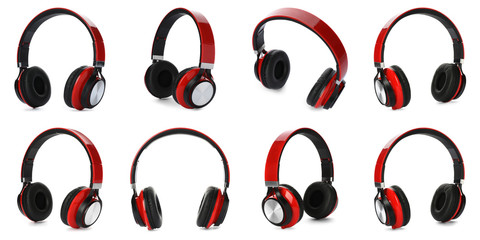 Set of modern headphones on white background