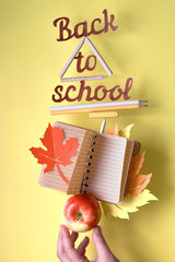 """""""Back to schooll"""" cut-out text among balancing stationary objects and apple"""
