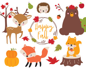 Fototapete - Cute vector illustration of Fall or Autumn woodland animals including bear, deer, fox, hedgehog, and squirrel.