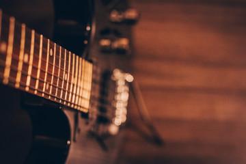 Closeup of Guitar Strings and Blurred Bokeh