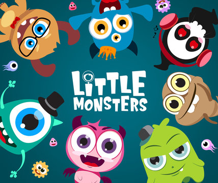 Little monsters vector characters background design. Cute little monster character with text in empty space for message in blue background. Vector Illustration.