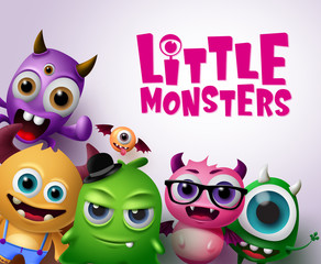 Little monsters vector characters background. Little monsters text with scary and funny monster creatures in white background. Vector illustration.