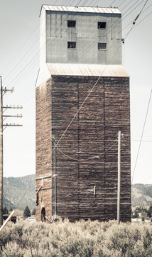 Rural Abandoned Grain Elevator in Soda Springs