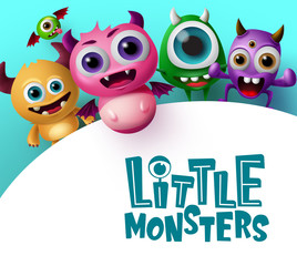 Cute little monster characters vector background template. Little monsters text in empty white space for messages with crazy and scary monster creature in blue background. Vector Illustration.