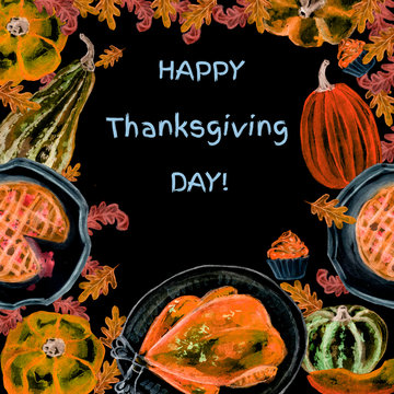 Thanksgiving Day. Hand-drawn watercolor pumpkins, traditional turkey, apple pie, cupcakes, autumn leaves. Happy Thanksgiving Day background.