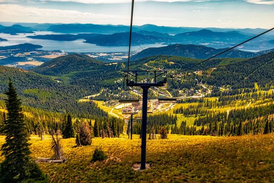 View of Sandpoint and lake Pend Oreille from Schweitzer Mountain