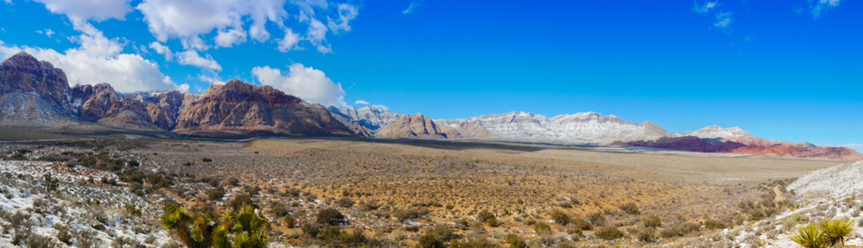 Panoramic view of a rare snow fall at Red Rock Canyon near Las Vegas, Nevada.