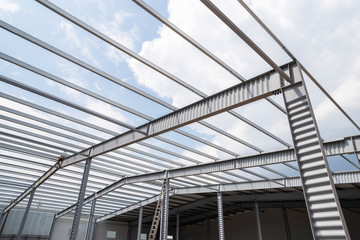 industrial building frame, metal supports and partitions for construction and roof Wall mural