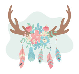 deer horns with flowers and feathers boho style