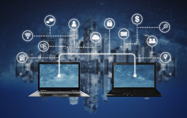 Internet network, cloud computing and blockchain technology concepts. Computer laptop sharing and connection together