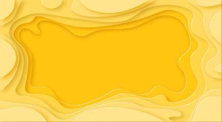 Shades of yellow background are cut out of paper with shadow. Place for advertisement announcement. Abstraction. illustration