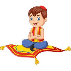 Cartoon aladdin travelling on flying carpet