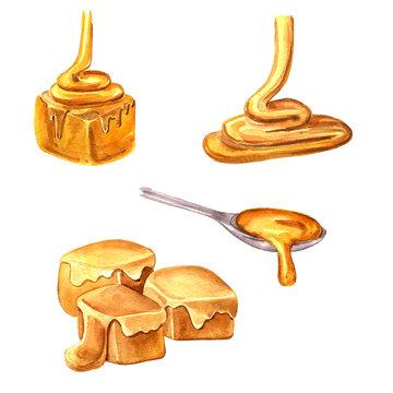 watercolor drawing caramel set