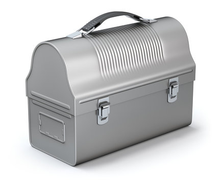 Vintage lunch box on white background - 3D illustration