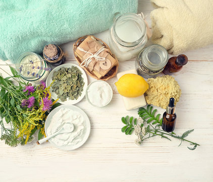 Eco friendly products for cleaning and care. DIY ingredients - essential oil, salt, bath soap, baking and washing soda, vinegar, lemon, lavender, flower. zero waste detergent. spa wellness background