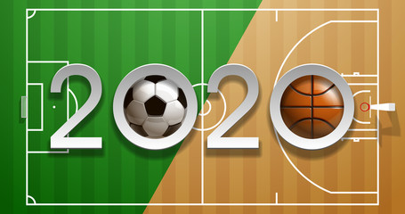 Football basketball 2020 championship Design greeting card banner. greeting card with new year 2020 logo Realistic 3d soccer and basketball balls above on field. classic leather football ball postcard
