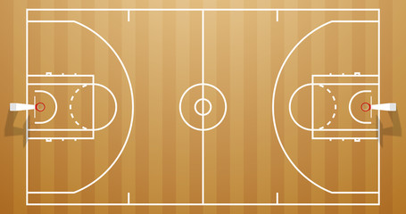Design banner illustration layout championship greeting card above basketball field. card above Realistic basketball field. classic wood parquet playground postcard