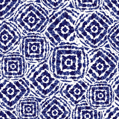 Vector blue and white shibori diamond and squares overlap patten. Suitable for textile, gift wrap and wallpaper.