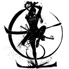 Silhouette of a samurai girl who attacks in a jump with a katana in her hands. 2D Illustration.