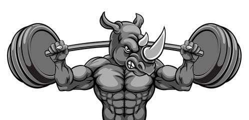 A rhino animal body builder sports mascot weight lifting a barbell