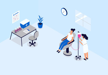 Isometric image of the blood transfusion station. Visualization of the concept of health care, the donor girl sitting in the chair the doctor checks the device. Vector illustration on white background