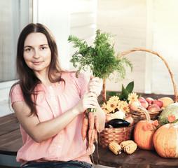 Grower rich harvest of vegetables, Nice woman gardener huge harvest for Thanksgiving