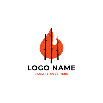 dry tree trunks with fire background for dry forest logo concept design.
