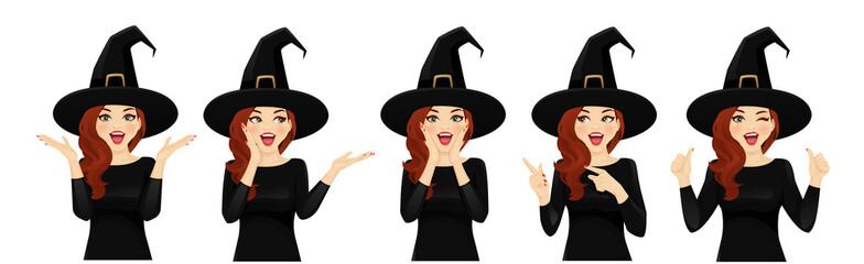 Surprised halloween woman in witch costume vector illustration Wall mural
