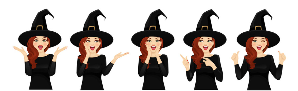 Surprised halloween woman in witch costume vector illustration