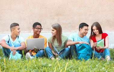 Portrait of young students sitting on grass outdoors