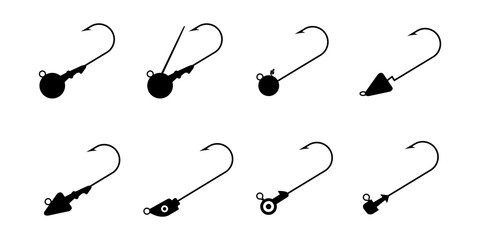 Set of Jig Head Hook isolated on white background vector illustration