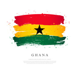 Ghana flag. Brush strokes are drawn by hand. Independence Day.