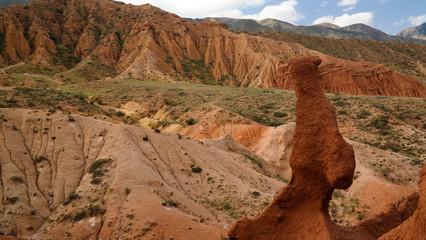 Panorama of Skazka aka Fairytale canyon, Issyk-Kul, Kyrgyzstan