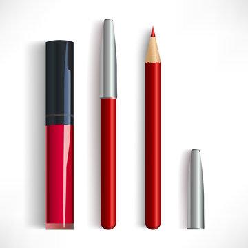 Realistic red lip pencil and lipstic