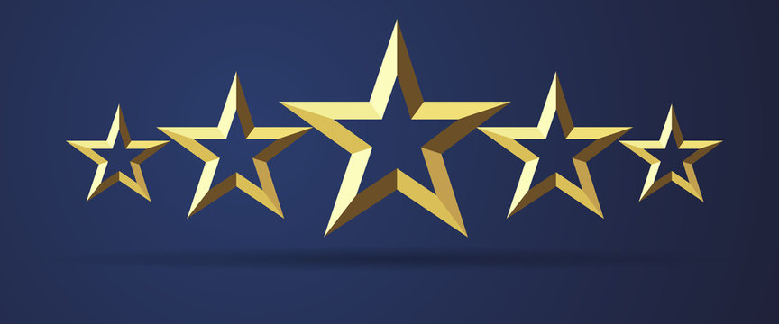 Five stars rating realistic golden 3D icon. Quality sign template, rank star facet symbol on dark background. Vector illustration