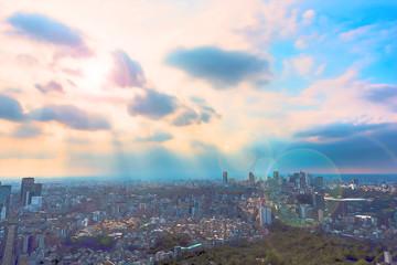 東京風景 Tokyo city skyline , Japan. Illustration of Anime style.