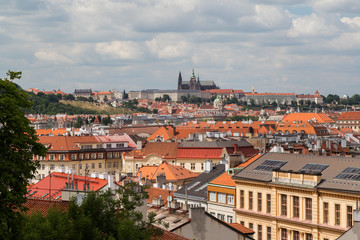 View of the Prague (Hradcany) Castle, St. Nicholas Church and downtown in Prague, Czech Republic, on a sunny day in the summer.