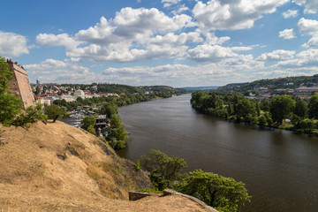 Vltava River in Prague, Czech Republic, viewed from the Vysehrad fort, on a sunny day in the summer.