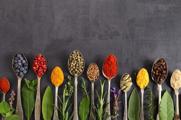Fototapete - Spices and herbs.