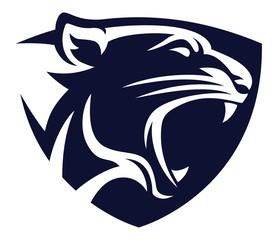 Panther head shield blue icon