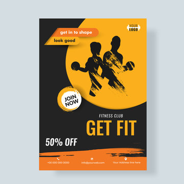 Silhouette of man and woman for advertising design of Fitness Flyer or poster with 50% off.