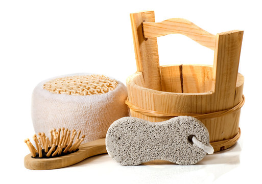 isolated image of bath accessories. Washcloth, pumice, comb